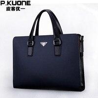 P.KUONE 2018 Genuine Leather Business Men's Handbag Shoulder Bag High Quality Briefcases Male Luxury Brand Messenger Laptop Bag