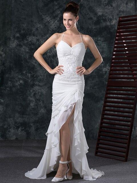 2849127eef9 2016 Summer Mermaid High Low Informal Beach Chiffon Wedding Dresses  Spaghetti Straps Split Women Reception Bridal Gowns Sexy