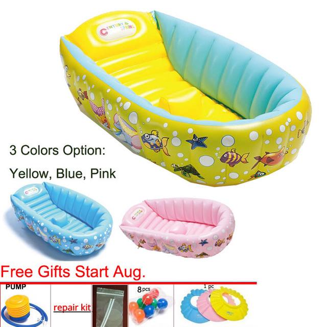0-3 Año Para Niños Engrosamiento Bañera lavabo Plegable Bebé Bañera Inflable Bebé Piscina 3 opciones de color Portátil bañera
