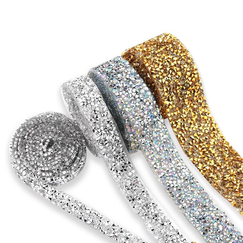 High Density Flatback Rhinestone Chain Trim Hot Fix Or Glue-On 10mm-30mm Iron On Base Rhinestone Trim DIY Decor Accessories