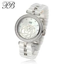 PB Top Brand Luxury Fashion Watch Women OEM Ceramic Ladies Watch for Pearl Crystal Element Diamond Wristwatch HL596