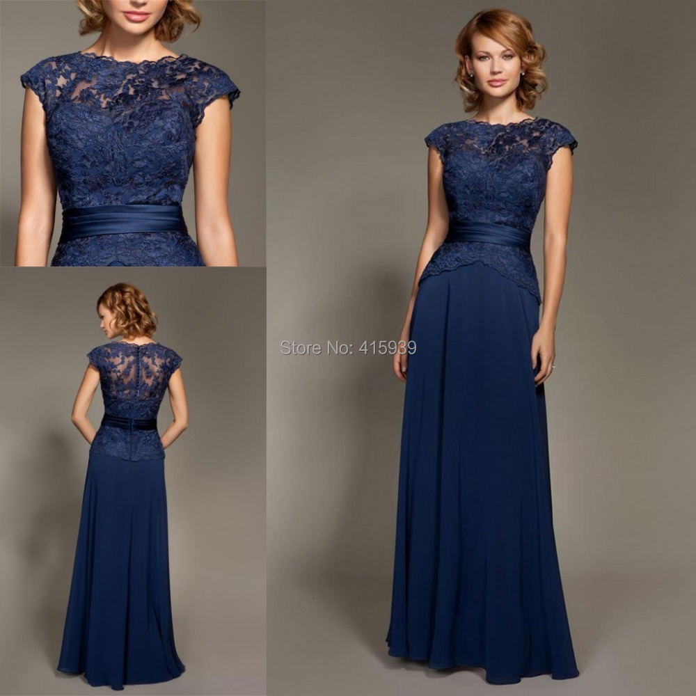 Mark lesley dark navy blue bridesmaid dress lace chiffon for Navy dresses for weddings