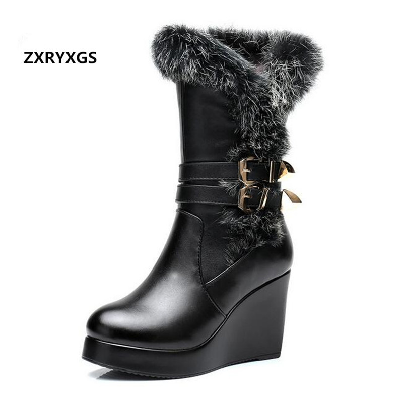 2018 New Fashion Winter Warm Comfort Real Rabbit Hair Cowhide Leather Boots Snow Boots Women Shoes Boots Wedges High Heel Boots anmairon new genuine leather boots cowhide women s ankle boots square heel fashion real leather motorcycle snow boots shoes