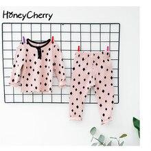 2017 Automne Produits, bébé Dot Knit Basant Costume Filles Vêtements Ensembles 2 Pièce Ensemble Fille Kid Vêtements Fille