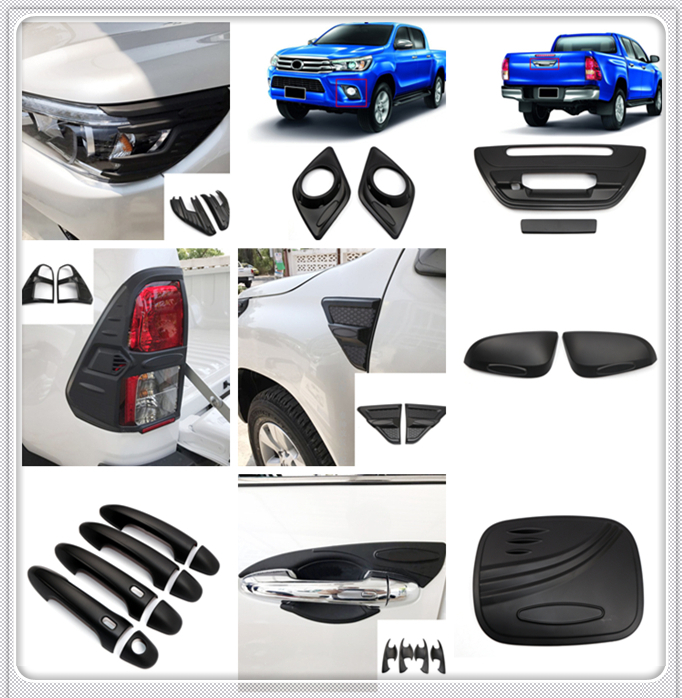 For Toyota Hilux 4 Door 2016 2017 ABS Plastic Black Exterior Car Styling Whole kit Decorative Cover Trim 25pcs Car Accessories|Roof Racks & Boxes| |  - title=