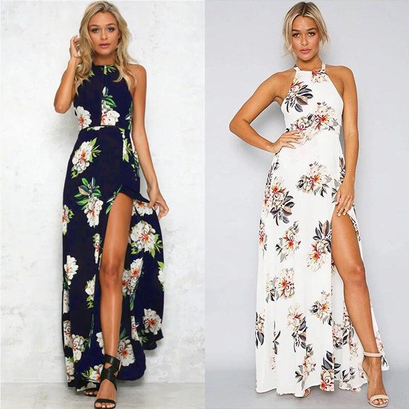 Ruiyige дамы сексуальная туника цветочный печати пляж elbise спинки холтер шея высокого сплит вырезать пояс длиной макси tank dress белый