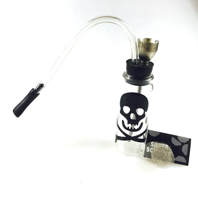 SWSMOK Glass Popular Bottle Water Pipe Portable Mini Hookah Shisha Tobacco Smoking Pipes For Smoking Metal Tube Filter