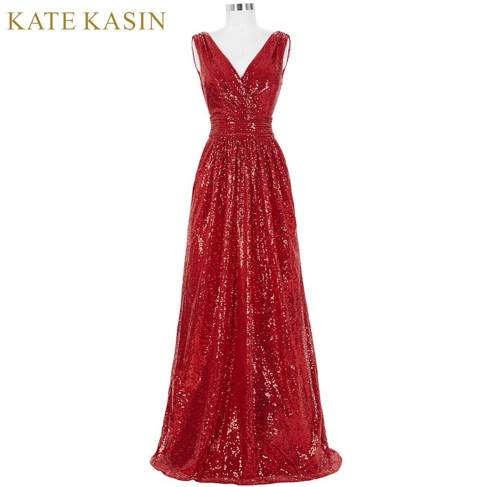 Kate Kasin Long Bridesmaid Dresses Red Silver Pink Black Gold Sequins Wedding Party Dresses for Bridesmaids 2018 Prom Gown Green