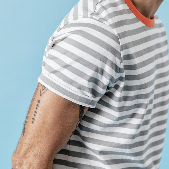 Men's Slim Fit T-shirts Contrast Color Striped 100% Cotton