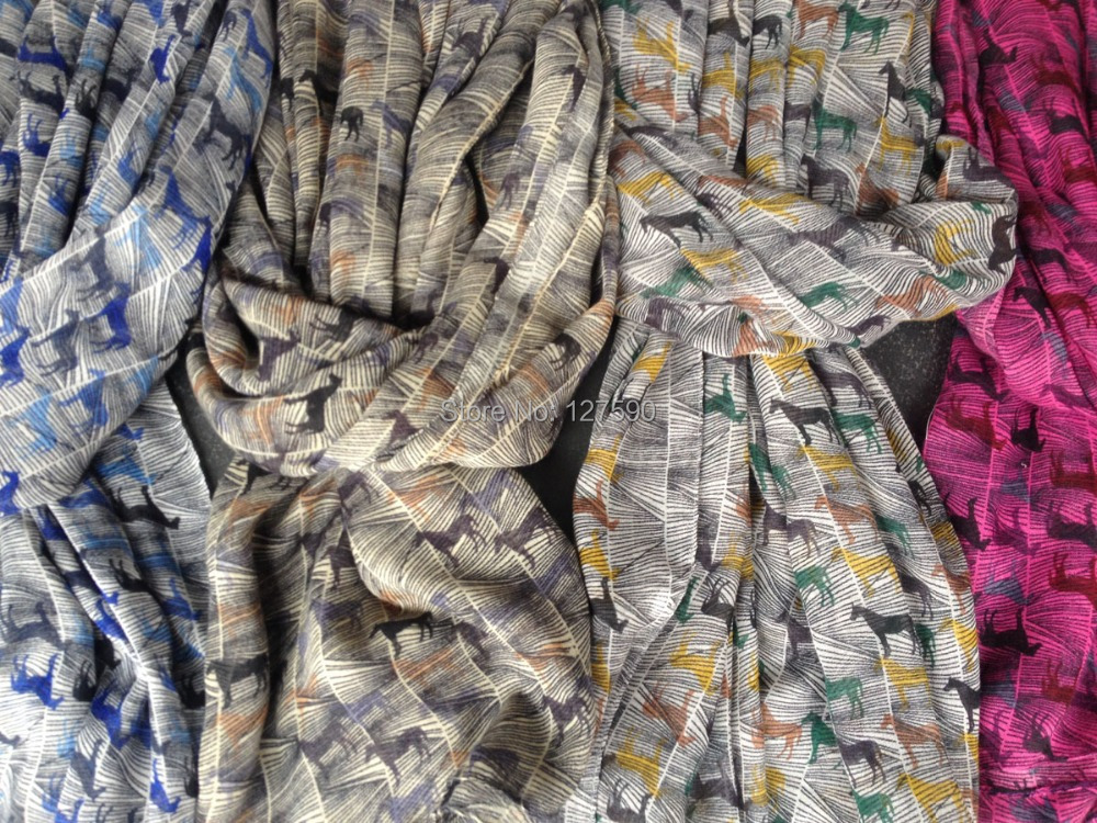 2014 New Fashion Horses Scarf Wanita Animal Print Bungkus Selendang - Aksesori pakaian - Foto 2
