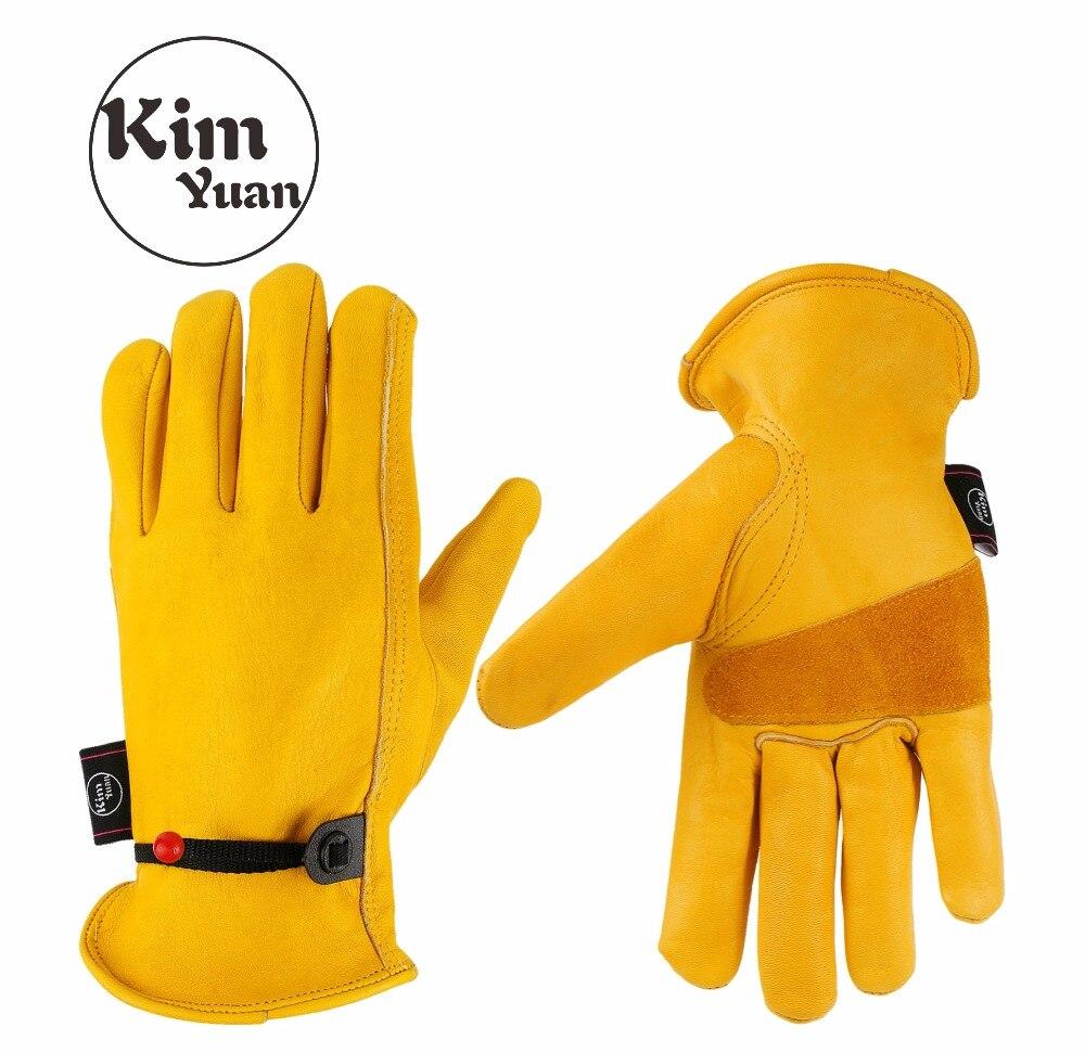 Kimyuan 001 luvas de trabalho de couro dourado para trabalho de quintal/corte/construção/motocicleta, com fivela de pulso ajuste livre masculino e feminino