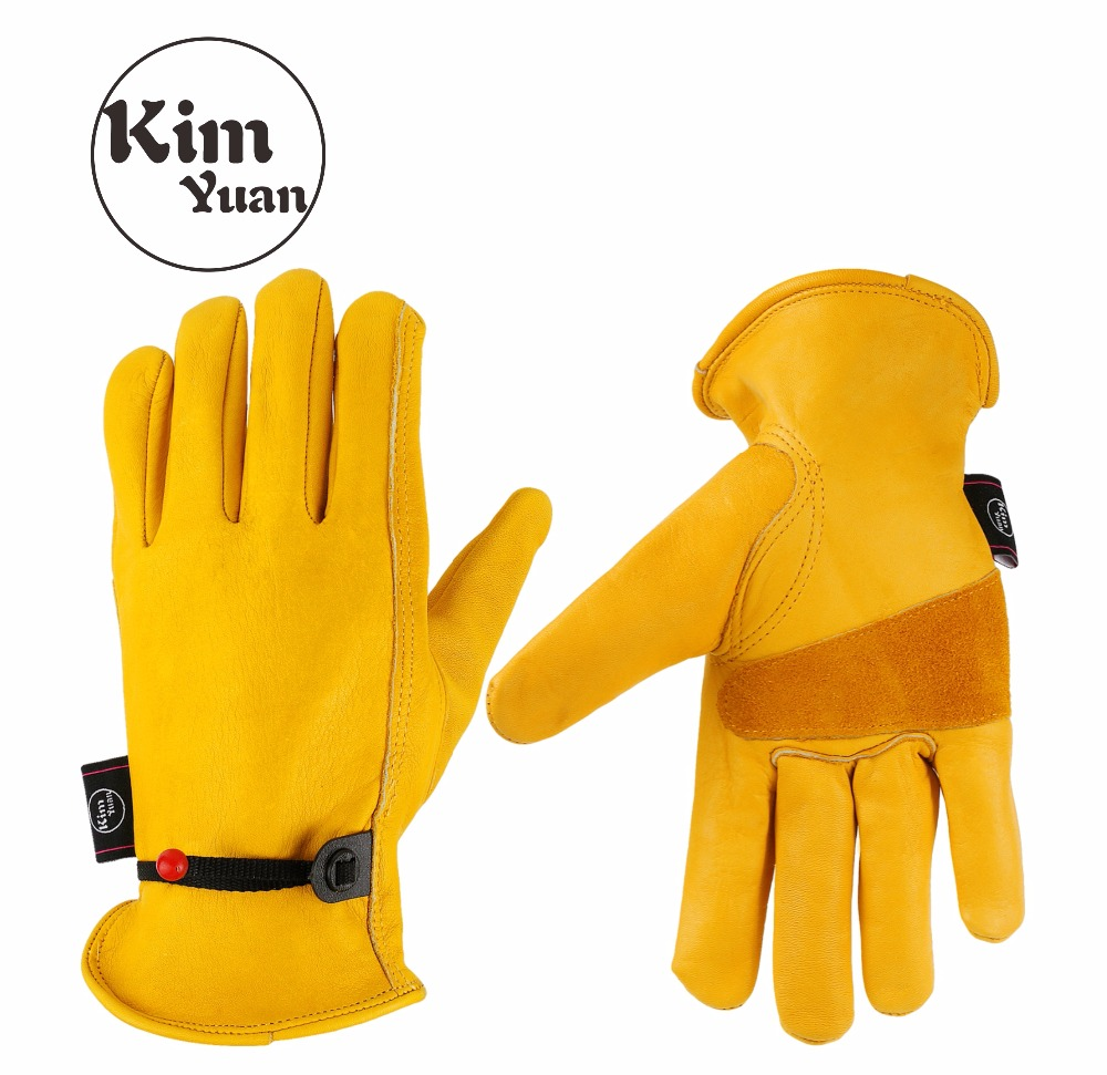KIMYUAN 001 5Pair Golden Cowhide Work Gloves For Yard work/Cutting/Construction/Motorcycle,With wrist buckle Free adjustmentKIMYUAN 001 5Pair Golden Cowhide Work Gloves For Yard work/Cutting/Construction/Motorcycle,With wrist buckle Free adjustment