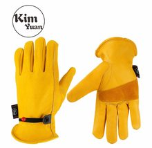 Kimyuan 001 luvas de trabalho de couro bovino dourado para quintal trabalho/corte/construção/motocicleta, com fivela de pulso ajuste livre para homens e mulheres