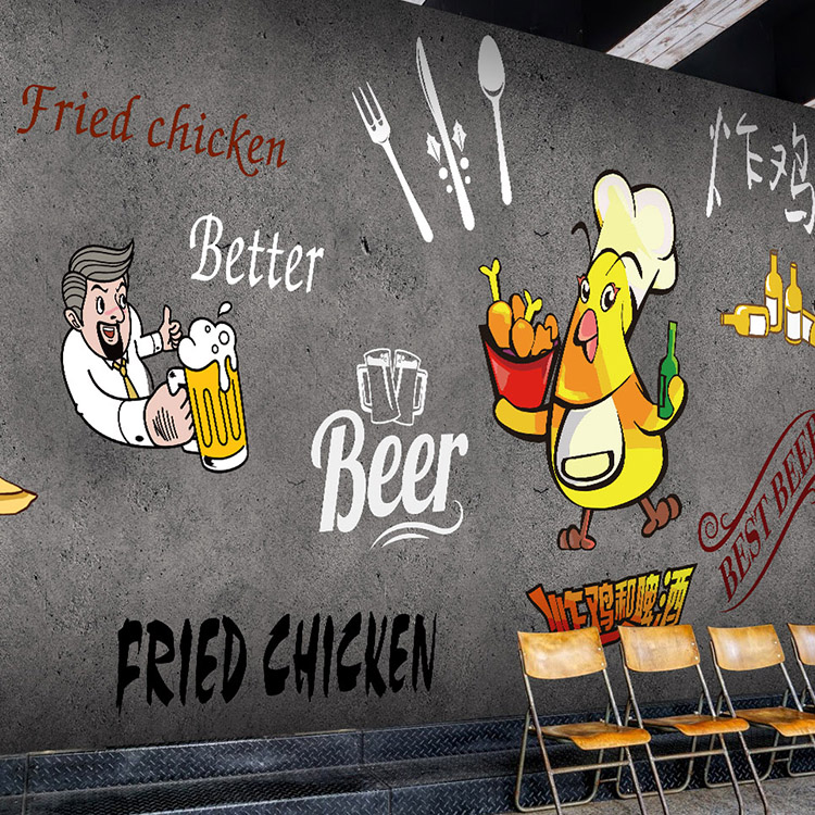 Custom Size Photo 3D Cute cartoon hand drawn fried chicken Beer KTV Bar wallpaper wall Cafe wallpaper mural image