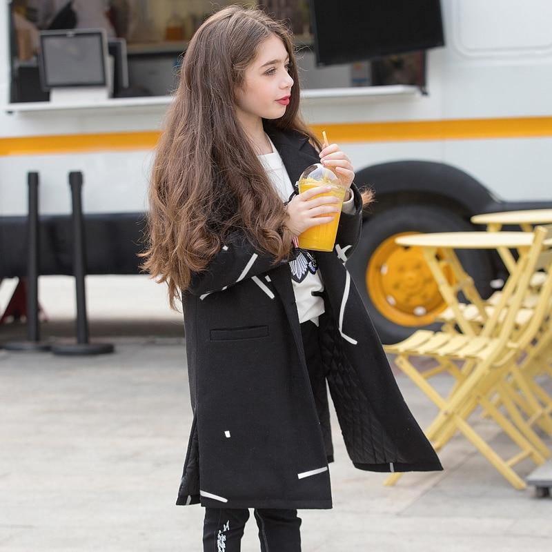 ФОТО 2017 New Year Girls Wool Coat Winter Kids Fashion Warm Coat Black Color Cotton Coat For Age 7 8 9 10 11 12 13 14 15 16 Child