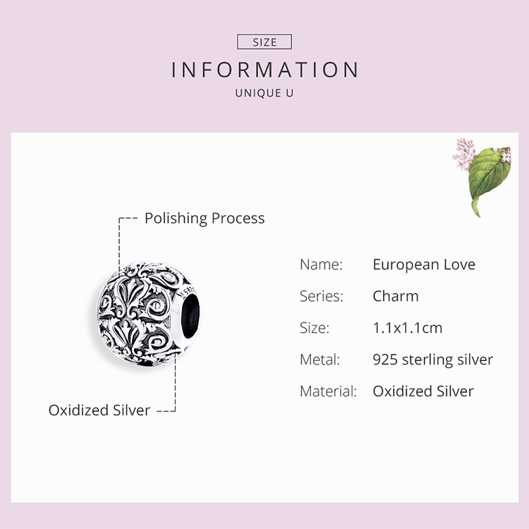 BAMOER Metal Round Beads for Jewelry Making 925 Sterling Silver European Engraved Pattern Silver Charm for 3mm Bracelet SCC1179