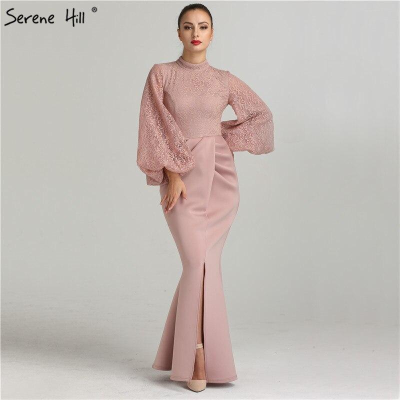 e08405226 Simple Lace Long Sleeve Mermaid Evening Dress Front Split Floor Length  Party Gown Arabic Vestido De
