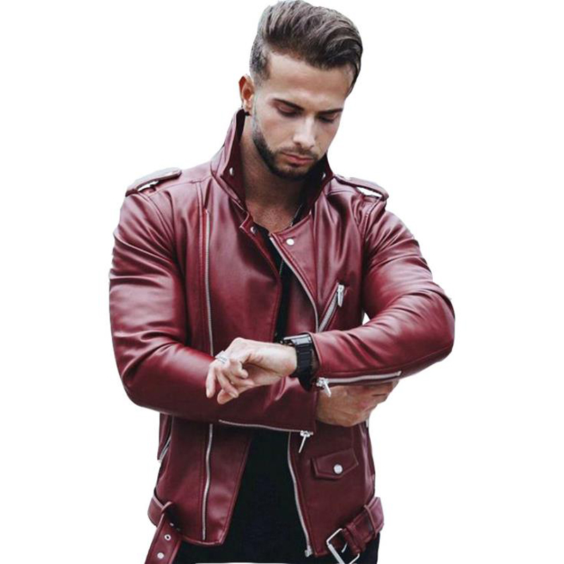 European Style Mens Automotive Leather Jacket And Coats Plus Size XXXL Men's Avirex Leather Jackets Rose Red Black Color B013