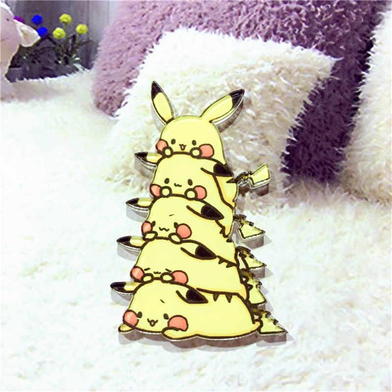 1 Pcs Kawaii Harajuku Ditumpuk Pikachu Acrylic Bros Anime Jepang Pakaian Lencana Dekoratif Rozet Kerah Syal Kerah Pin Bros