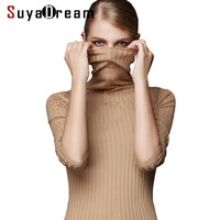 100 MERINO WOOL Women Long Sleeve Solid RIB Knit Turtleneck Heaps Collar PULLOVERS Sweater Top Fall