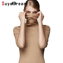 women long sleeve solid RIB knit turtleneck Heaps collar PULLOVERS sueter sweater top tunic jumper Basic new