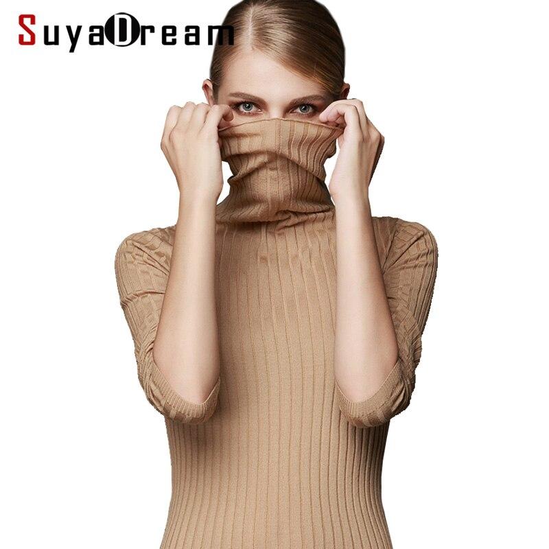 Women Wool Turtleneck Pullover 100%Wool Rib Knits Sweaters White Black Khaki Bottoming pull femme