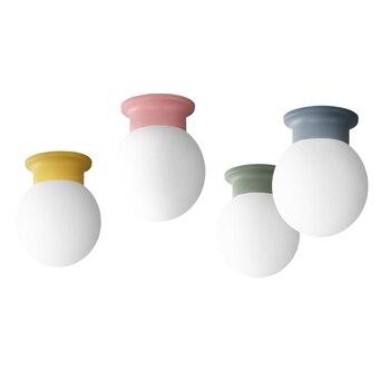 Korea Color Warm Glass LED Ceiling Lamp Iron Base Ceiling Light Bedroom Living Room Staircase Lighting Decorative Lamp Luminaire