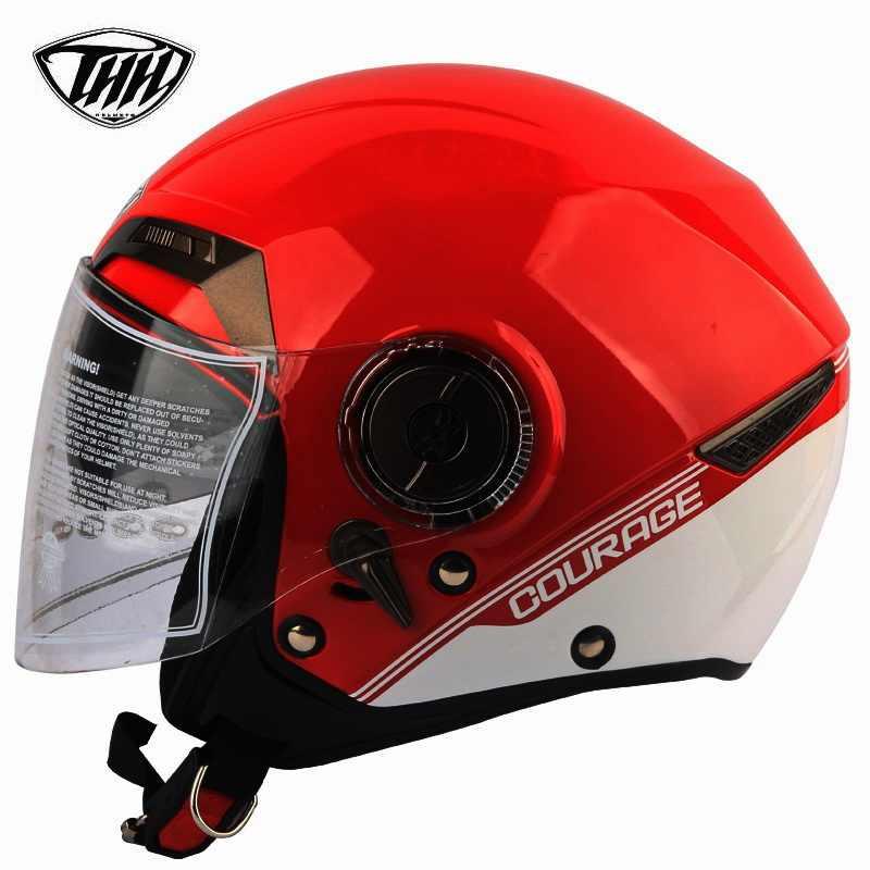 Новое поступление THH полукрышка двойной объектив мото rcycle Железный человек Шлем Марсель индивидуальный шлем точка Сертификация Casco moto