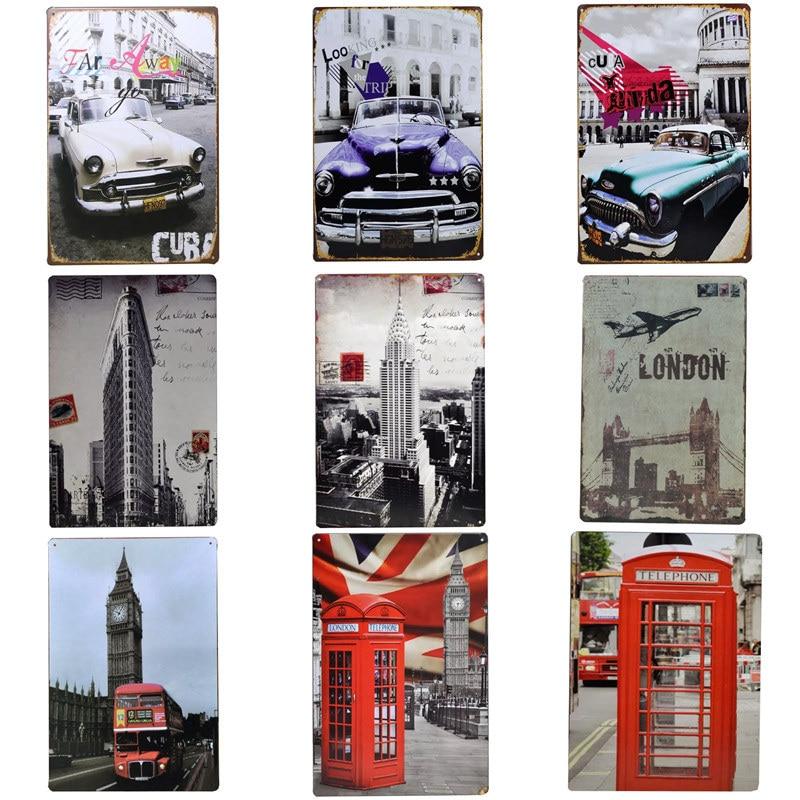 Tin Signs Vintage Classic Car Creative Tintin Usa Map Metal Garage Iron Painting Plaque Poster Club Cuba Wall Decor Bar 30 20cm