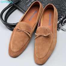 Men Dress Shoes British Style Mens Slip-on Fashion Suede Loafers Italian Genuine Leather Prom And Wedding