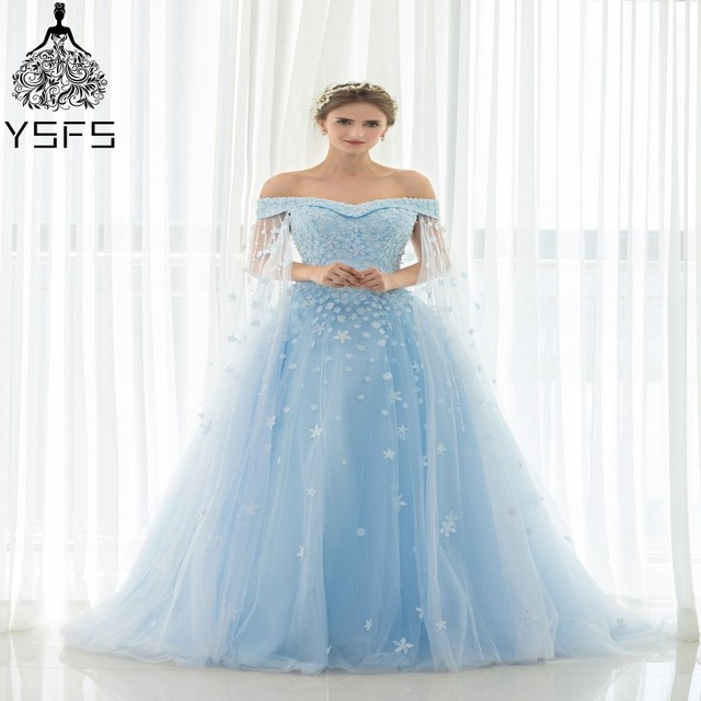 Fashionable Long Prom Dresses Sweetheart A line Light Blue Lace ...