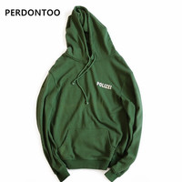 Autumn Sweatshirt Oversized Green Polizei 16ss Embroidered Hoodie With Letters Men Women Hiphop Hoodies Streetwear Urban