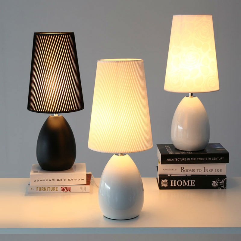 Modern Bedroom Table Lamps Nordic Style Ceramic Fashion Simple Bedside Lamp Living Room Decoration Study Reading