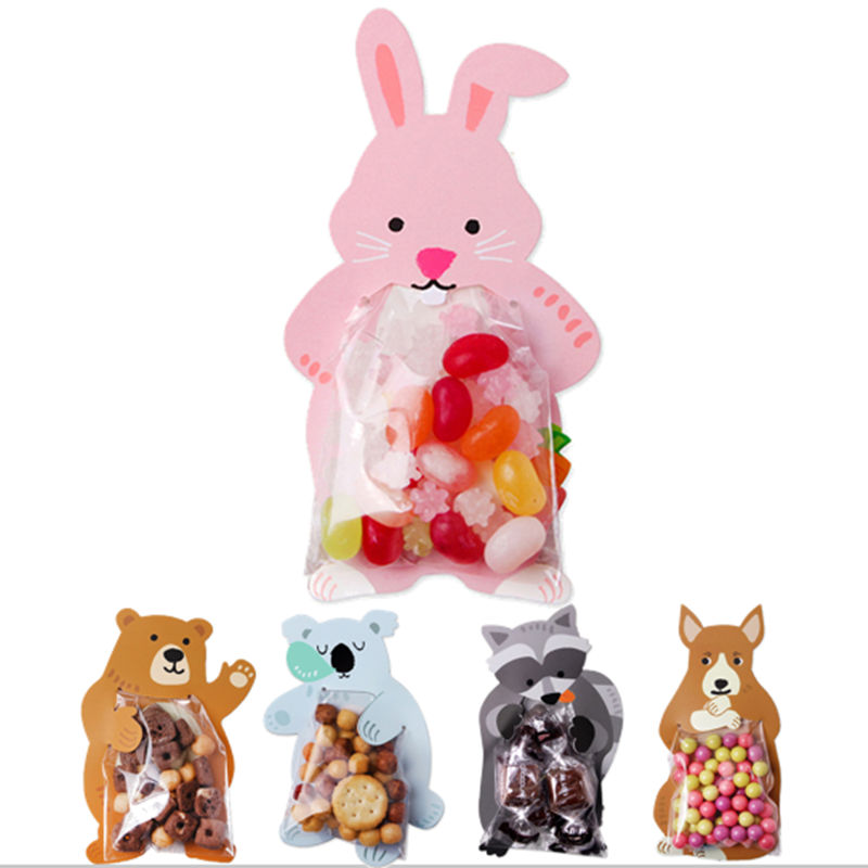 10pcs/lot Easter Rabbit Animal Bear Candy Bags Cookie Bags Gift Bags Greeting Cards Baby Shower Birthday Party Candy