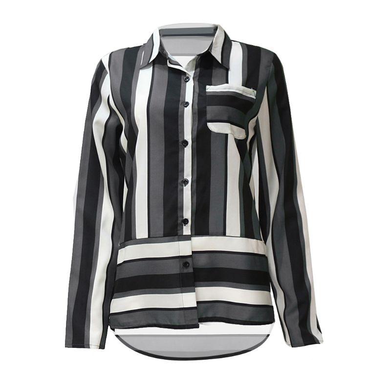 De Irregular Lateral Camisa Impreso Cuello Tamaño Botón no Blusa No Patchwork Larga wr no Plus no gn gy bl Solapa Rayas Casual Manga Gasa xpYqwnZ7