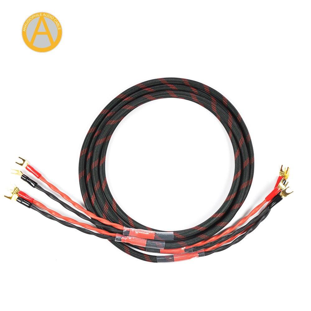 ANAUDIOPHILE SPC01 câble haut-parleur Hi-Fi 4N OFC câble plaqué or Y Spade 4 conducteurs pour amplificateur de haut-parleur