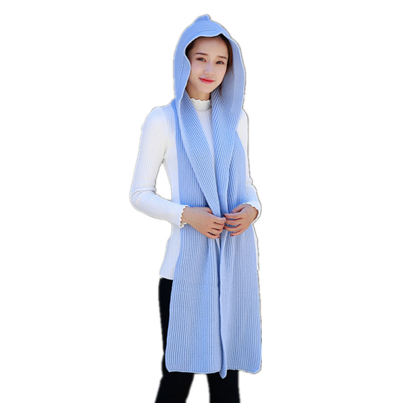 Winter Warm Set Cap And Scarf For Women Solid Soft Wool Hooded Knitted Scarves And Hats Sets
