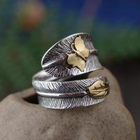 Real Pure 925 Sterling Silver Feather Ring For Women With Butterfly Vintage Simple Personality Design