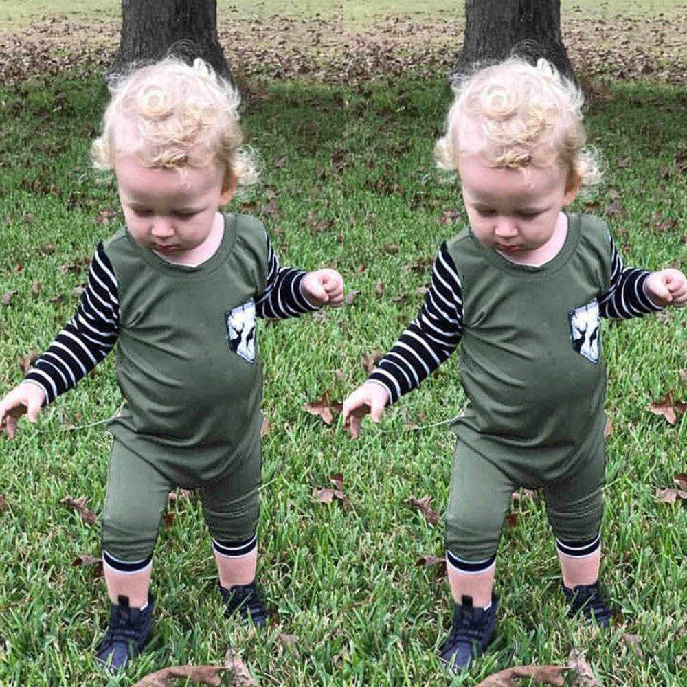 Новорожденных хлопок младенческой для маленьких мальчиков с длинным рукавом корона комбинезон шапка одежда комплект зеленый 2018 осень