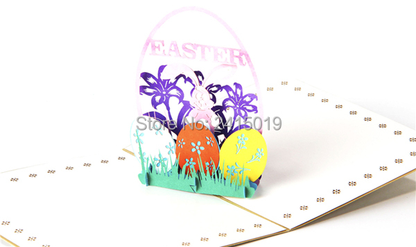 Free ship 5pc/lot 13x15cm handmade exquisite 3D fold up Easter theme party greeting invitation
