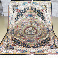 Mingxin Carpet 4x6 Feet Persian Design Shaggy Carpet Flower 100 Silk Rugs Area Home Carpet Living
