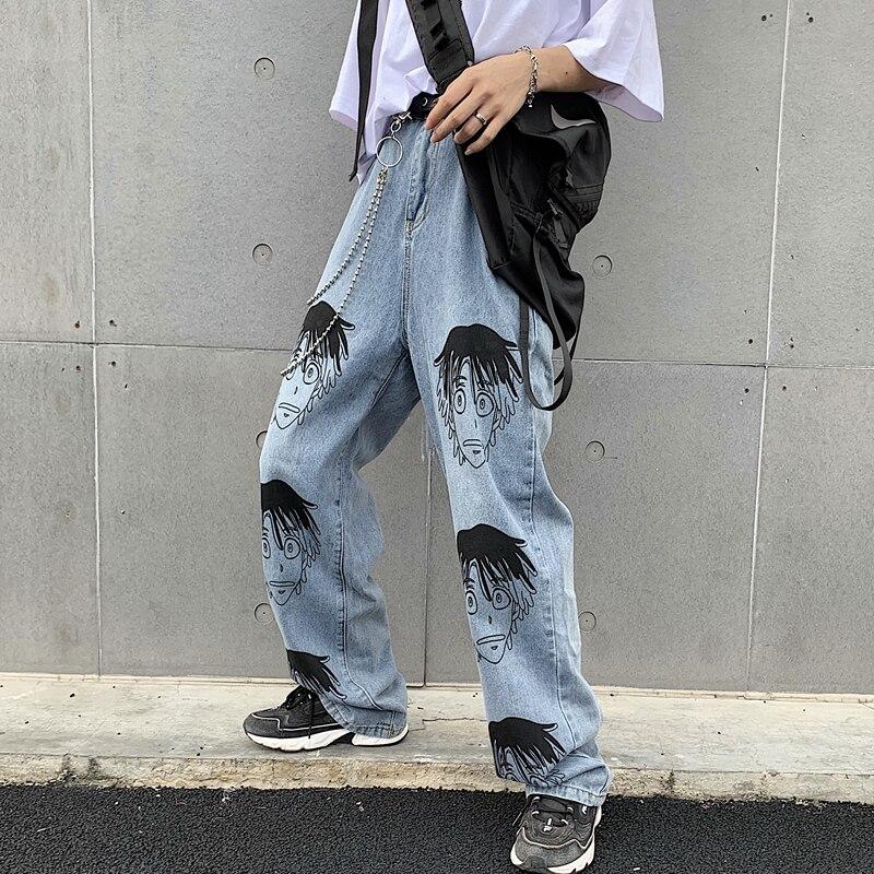 Women's Baggy Hip Hop Denim Pants Loose Skateboard Retro Jeans Trousers Fashion Streetwear Cartoon Straight Wide Leg Pants