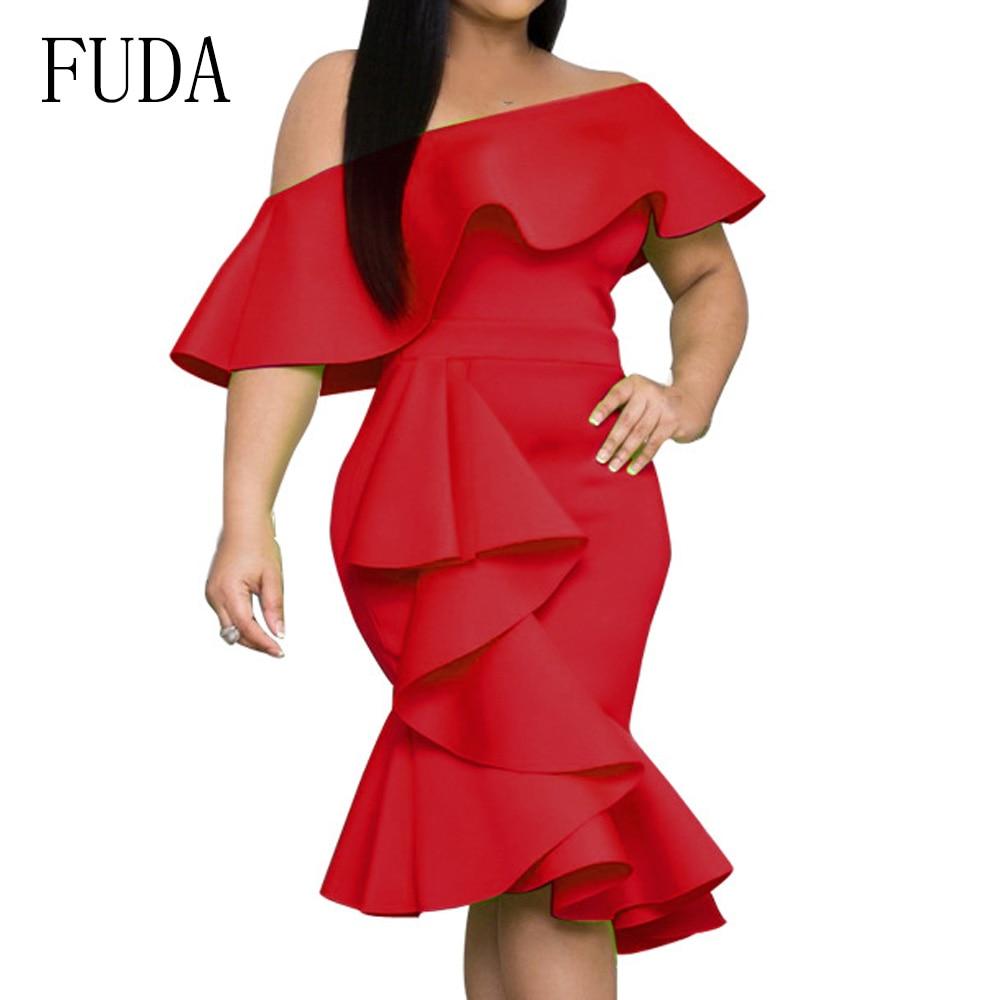 FUDA Irregular Ruffles Sexy Off Shoulder Summer Dress Women Red Backless Bodycon Pencil Elegant Strapless Party Dresses