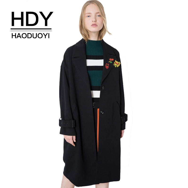 HDY Haoduoyi Brand 2017 Autumn Chic Women Black Casual Loose Soft Long   Trench   Coats Single Breasted Warm Lady Outwear