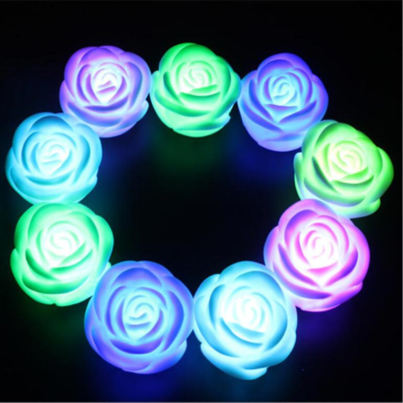 Mini Rose Flower Romantic Decorative Night Lights LED Rainbow Colorful Desk Table Atmosphere Lamps Lover Couple Party Gift Light