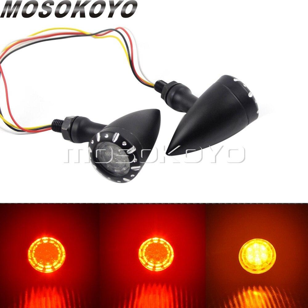 Motorcycle 1 Pair 10mm LED Turn Signal Light Running Light Brake Stop Lamp 3 In 1 Indicator Blinker For Harley Chopper Cruiser