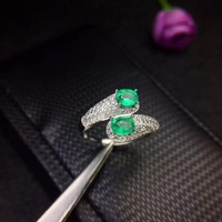 Natural emerald, small row, 925 silver, personality, style, latest design, favorite beauty