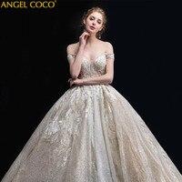 Champagne Gold работы рано Беременность для беременных свадебное платье 2018 новый суд большой шлейфом принцесса мечта невесты замуж звезда криста