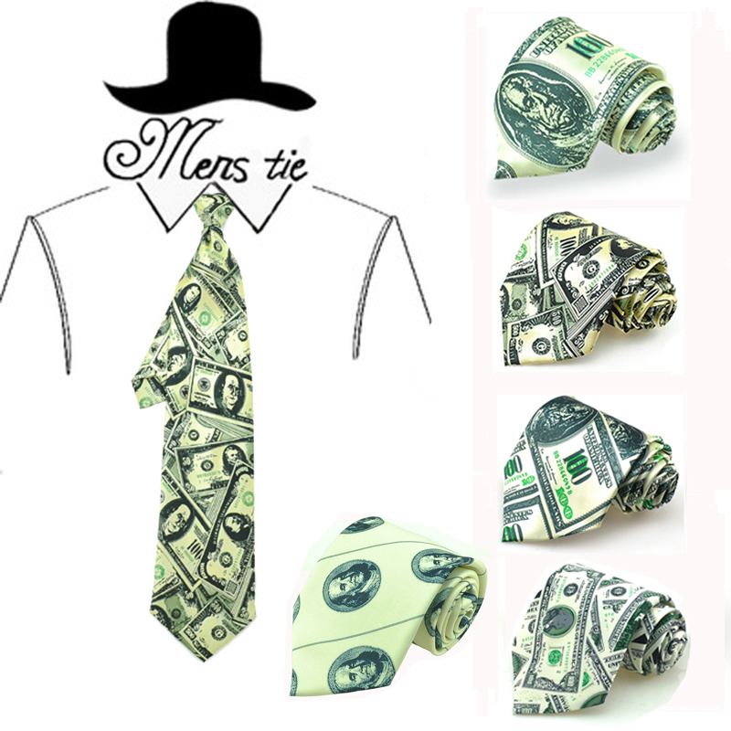 New Arrival Funny 4inch Width 5 Colors Dollar American Money US Dollar Men's Broad Party Holiday Gift Necktie Casual Wedding Tie