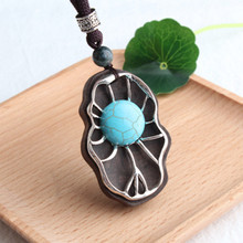 SOBUY Chinese Ethnic Necklace Cotton Linen Rope Ebony Fish Sun Carving Different Shape Original Pendant Sweater Chain for Women elegant paint brush shape sweater chain for women